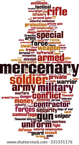 Mercenary word cloud concept. Vector illustration