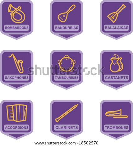 Merchandise Pictogram Series - Music Instruments - stock vector