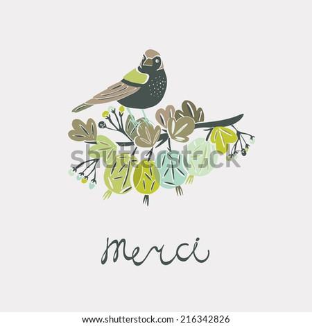 Merci greeting card - stock vector