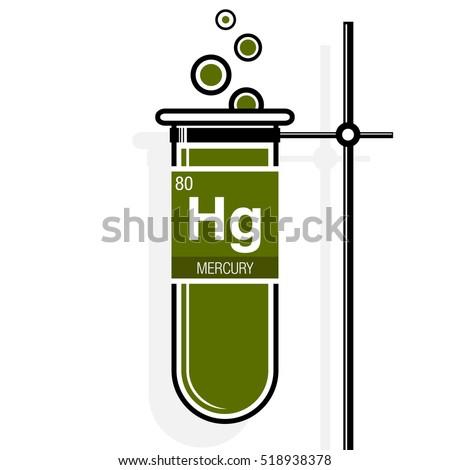 Mercury symbol on label green test stock vector 518938378 mercury symbol on label in a green test tube with holder element number 80 of urtaz Choice Image