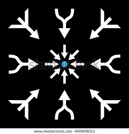 Merge Arrows vector icon set. Collection style is bicolor blue and white flat symbols on a black background. Merge Arrows icons. - stock vector
