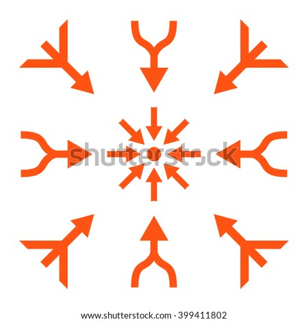 Merge Arrows vector icon set. Collection style is orange flat symbols on a white background.