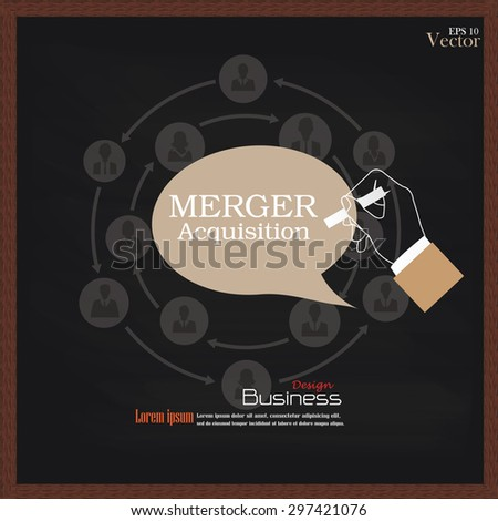 merger acquisition.hand writing  merger acquisition with  business man network icon.vector illustration. - stock vector