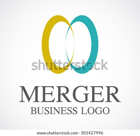 Merger business group ring abstract vector logo design template community icon corporate identity symbol concept - stock vector
