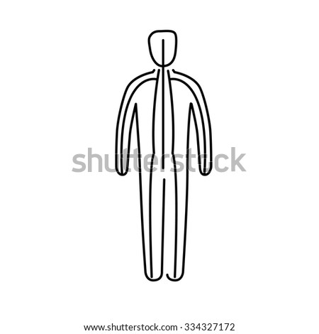 Meridians of the body black linear icon on white background | flat design alternative healing illustration and infographic - stock vector