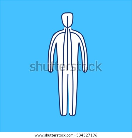 Meridians of the body white linear icon on blue background | flat design alternative healing illustration and infographic - stock vector