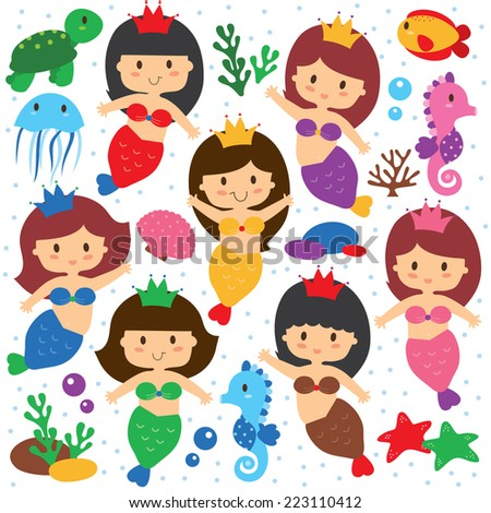 mermaid and sea creatures clip art set - stock vector