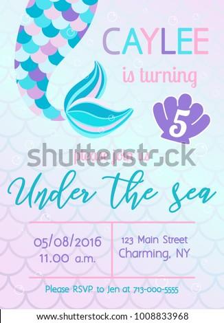 Mermaid birthday invitation under sea theme stock vector royalty mermaid birthday invitation under the sea theme party vector illustration stopboris Images