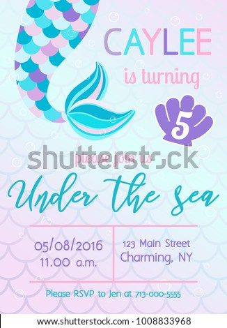 Mermaid birthday invitation under sea theme stock vector 1008833968 mermaid birthday invitation under the sea theme party vector illustration stopboris Image collections