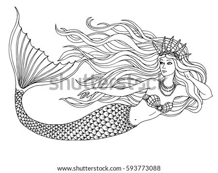 Mermaid Swimming Undersea, Hand Drawn Linen Vector Illustration On A White  Background For Coloring Book