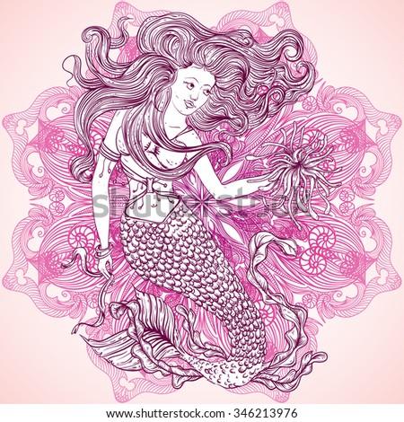 Mermaid with beautiful hair and marine plants  over ornate mandala round pattern. Tattoo art. Retro banner, invitation, card, t-shirt, bag, postcard, poster.Vintage hand drawn vector illustration - stock vector