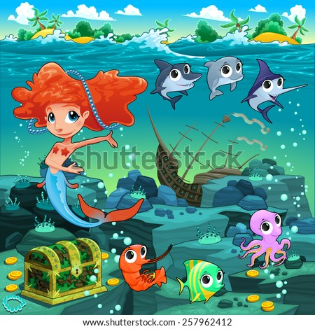 Mermaid with funny animals on the sea floor. Cartoon vector illustration. - stock vector