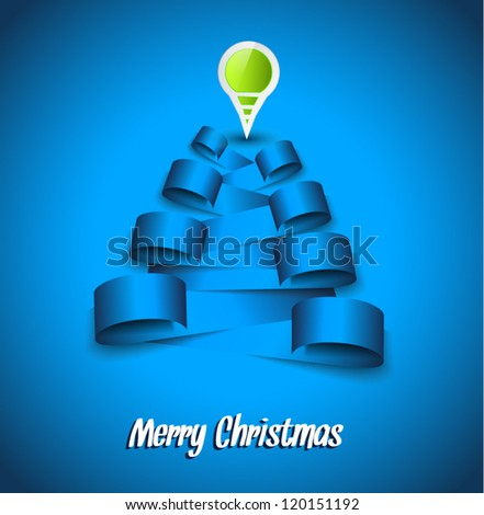 Merrt Christmas Background with an abstract tree made with paper tags and a pin. Ideal for original postcards or flyer. - stock vector