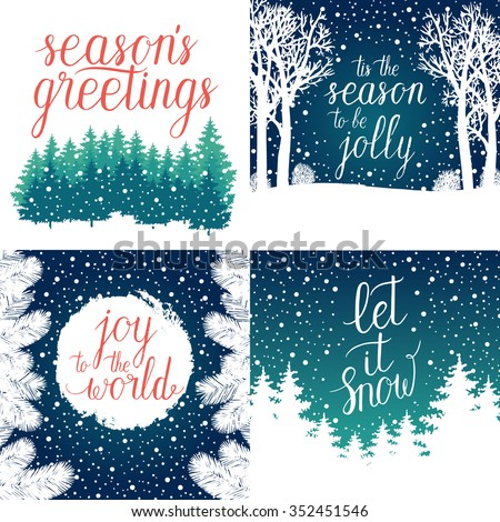 Merry and Bright Christmas, Happy Holidays, Happy New Year greeting cards set. Vector winter holidays backgrounds with hand lettering calligraphic, Christmas tree branches, snowflakes, falling snow. - stock vector