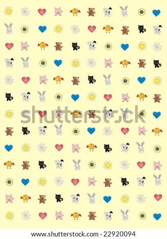 Merry animals, flowerses and heart. Valentine background. - stock vector