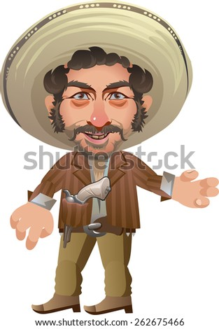 merry armed man with curly hair in the hat - stock vector