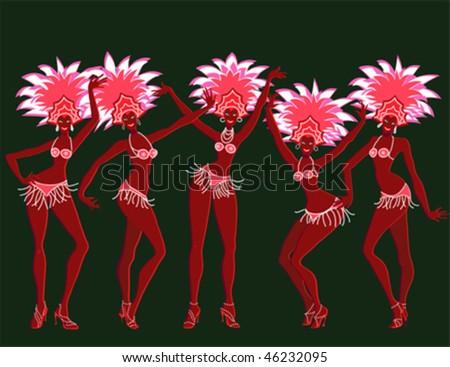 Merry carnival girls - vector illustration - stock vector