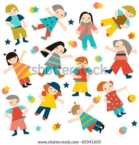 merry children - stock vector