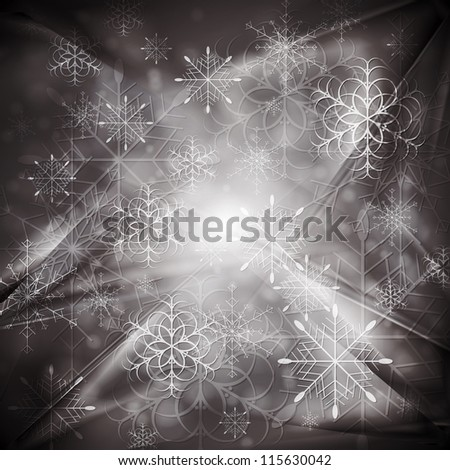 Merry Christmas! Abstract sparkling background with snowflakes. Eps 10 vector design - stock vector