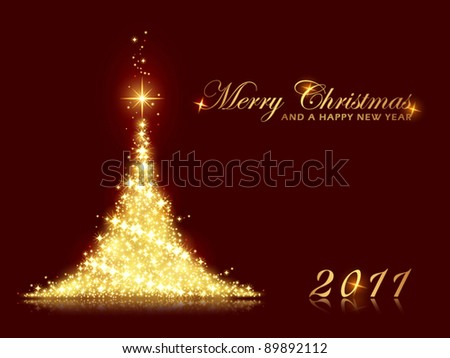 Merry Christmas and a Happy New Year card with shining Christmas tree made out of stars. Perfect for any Christmas, New Years theme with space for your message. EPS10 - stock vector