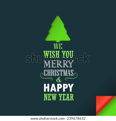 Merry Christmas and a happy New Year greeting card. Design template - stock vector