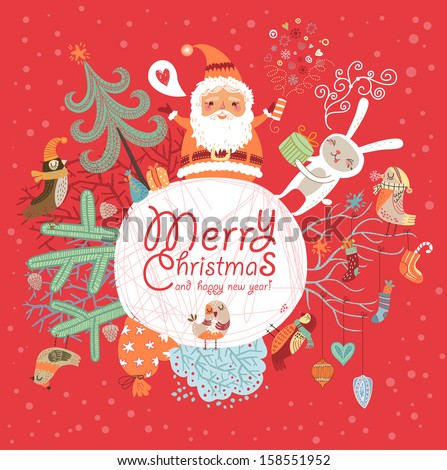Merry Christmas and Happy New Year! - stock vector