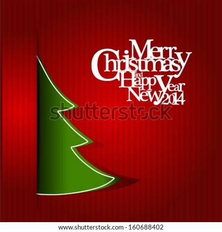 Merry Christmas and Happy New Year background 2014 - stock vector