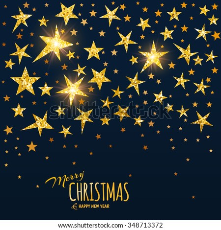 Merry Christmas and Happy New Year background. Golden glitter stars on black background. Festive banner. Elegant Greeting card. Vector illustration