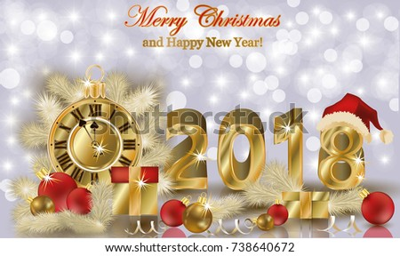 Merry Christmas and Happy new 2018 year background, vector illustration