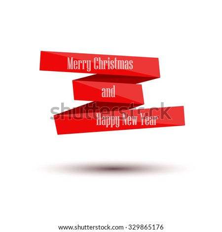 Merry Christmas and Happy New Year. Banner tape. Vector Illustration - stock vector