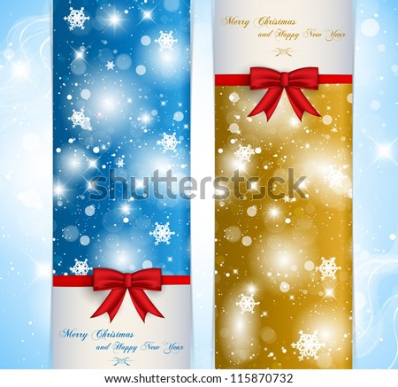 Merry Christmas and Happy New Year Banners - stock vector