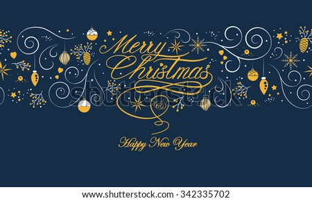 Merry Christmas and happy new year beautiful seamless pattern on dark background with lettering, nature, and holiday elements. Ideal for greeting card design. EPS10 vector. - stock vector