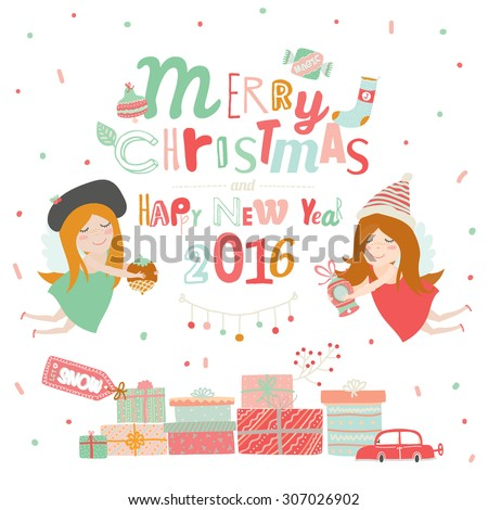 Merry Christmas and Happy New Year Calligraphic and Typographic Wish and Presents for Kids by Santa and Xmas Angels on White Background. Greeting hand drawn holidays illustration with winter elements - stock vector