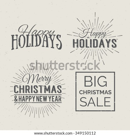 Merry Christmas and Happy New Year Calligraphic Design Label on grunge background. Holidays lettering for invitation, greeting card, prints and posters. Typographic design. Vector illustration. - stock vector