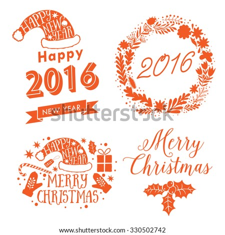 Merry Christmas And Happy New Year Calligraphic labels, letters elements. Christmas set labels, emblems and other decorative logos. - stock vector