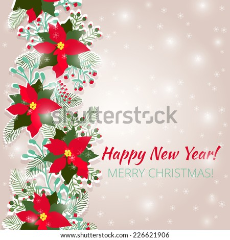 Merry Christmas and Happy New Year Card. Christmas background - stock vector