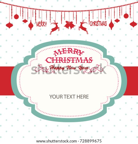 merry christmas happy new year card christmas stock vector 728899675