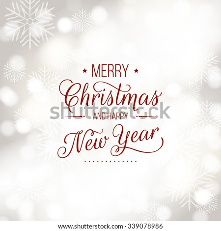 Merry Christmas and Happy New Year card. Vector bokeh background, festive defocused lights. - stock vector