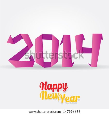 Merry Christmas and Happy New Year 2014 Card. vector origami style illustration. - stock vector
