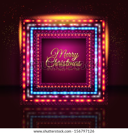 Merry Christmas and Happy New Year card with frame made of lights. Vector image.  - stock vector
