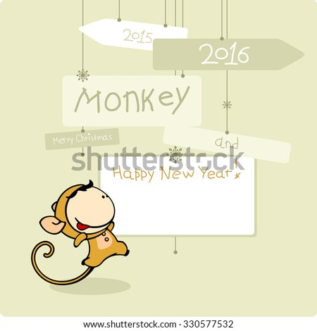 Merry Christmas and Happy New Year 2016 card with Monkey and space for your greetings - stock vector