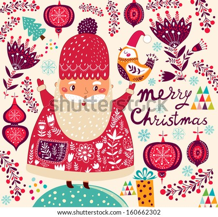 Merry Christmas and Happy New Year card with Santa Claus - stock vector