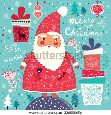 Merry Christmas and Happy New Year card with Santa Claus. - stock vector