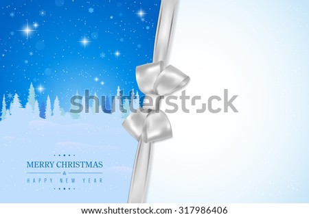 Merry Christmas and Happy New Year card with winter landscape, silver bow and place for your message - vector illustration - stock vector