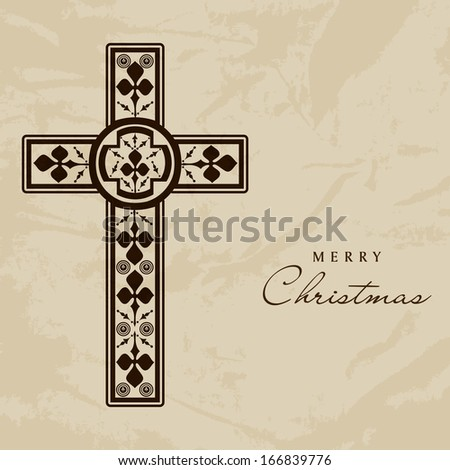 Merry Christmas and Happy New Year 2014 celebration concept with Christian Cross. - stock vector