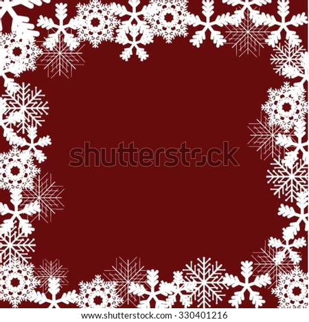 Merry Christmas and Happy New Year 2016 Celebration Red Grunge Background with Snowflake Border Frame . Invitation Card . Vector Illustration.