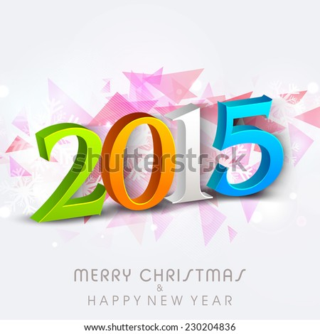 Merry Christmas and Happy New Year 2015 celebration with colorful text on abstract background.