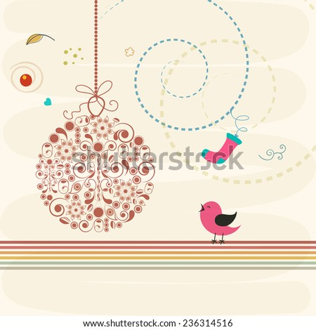 Merry Christmas and Happy New Year celebrations with floral design decorated X-mas Ball on stylish background.