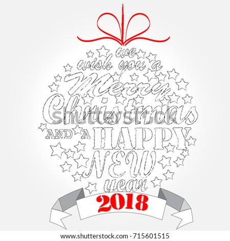 Merry Christmas Happy New Year Christmas Stock Vector 715601515 ...