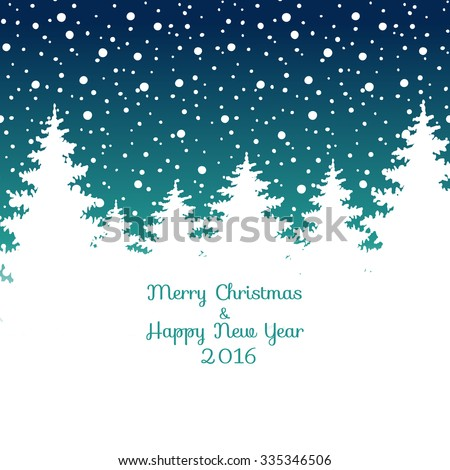 Merry Christmas and Happy New Year 2016  Christmas greeting card. Vector winter holidays landscape background with trees, snowflakes, falling snow. - stock vector